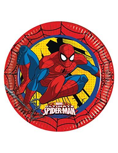 Ciao Procos 86668 Ultimate Spider Man Power Lot de 8 Assiettes en Carton, Ø23 cm, Rouge/Jaune/Bleu