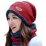 TeddyShop ニット帽 レディース 秋冬 女の子 スキー スノーボード あったか 防寒 裏起毛 ふわふわ もこもこ hat062 (レッド)