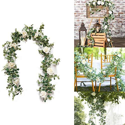 Queta Künstlich Eukalyptus Pflanzengirlande mit Rosen Künstliche Pflanze Eukalyptus Blätter Blumen Girlande Deko Eukalyptus Kranz Kunstpflanze Hochzeit Party Home Küchen Garten Büro Wanddekoration