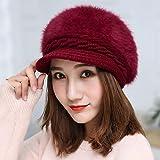 WAZHX Sombrero De Mujer Otoño/Invierno Sombrero De Punto Moda Coreana Color Sólido Pato Lengua Torsión Piel De Conejo Sombrero De Lana 1