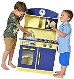 Teamson jeu de cuisine enfant en bois dinette bleue fille garçon TD-11412B