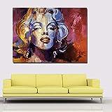 WJY Pintura Abstracta Colorida Marilyn Monroe Vintage Retrato Lienzo Pintura Pared Arte Imagen para Sala Cartel Cudros decoración 50cm x75cm Sin Marco