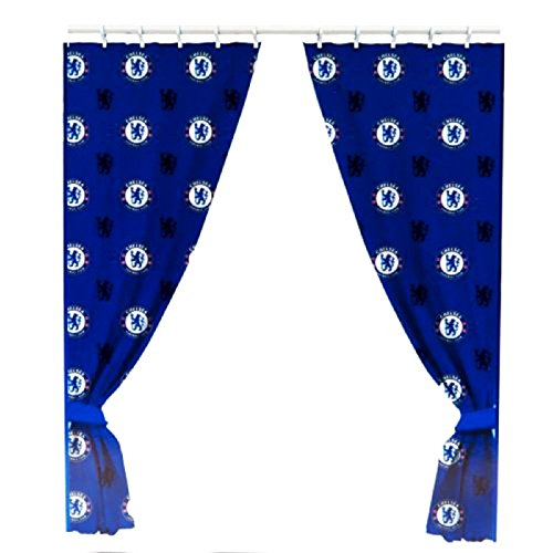 """Chelsea Fc 66"""" x 72"""" Drop Polycotton Curtains Ready Made"""