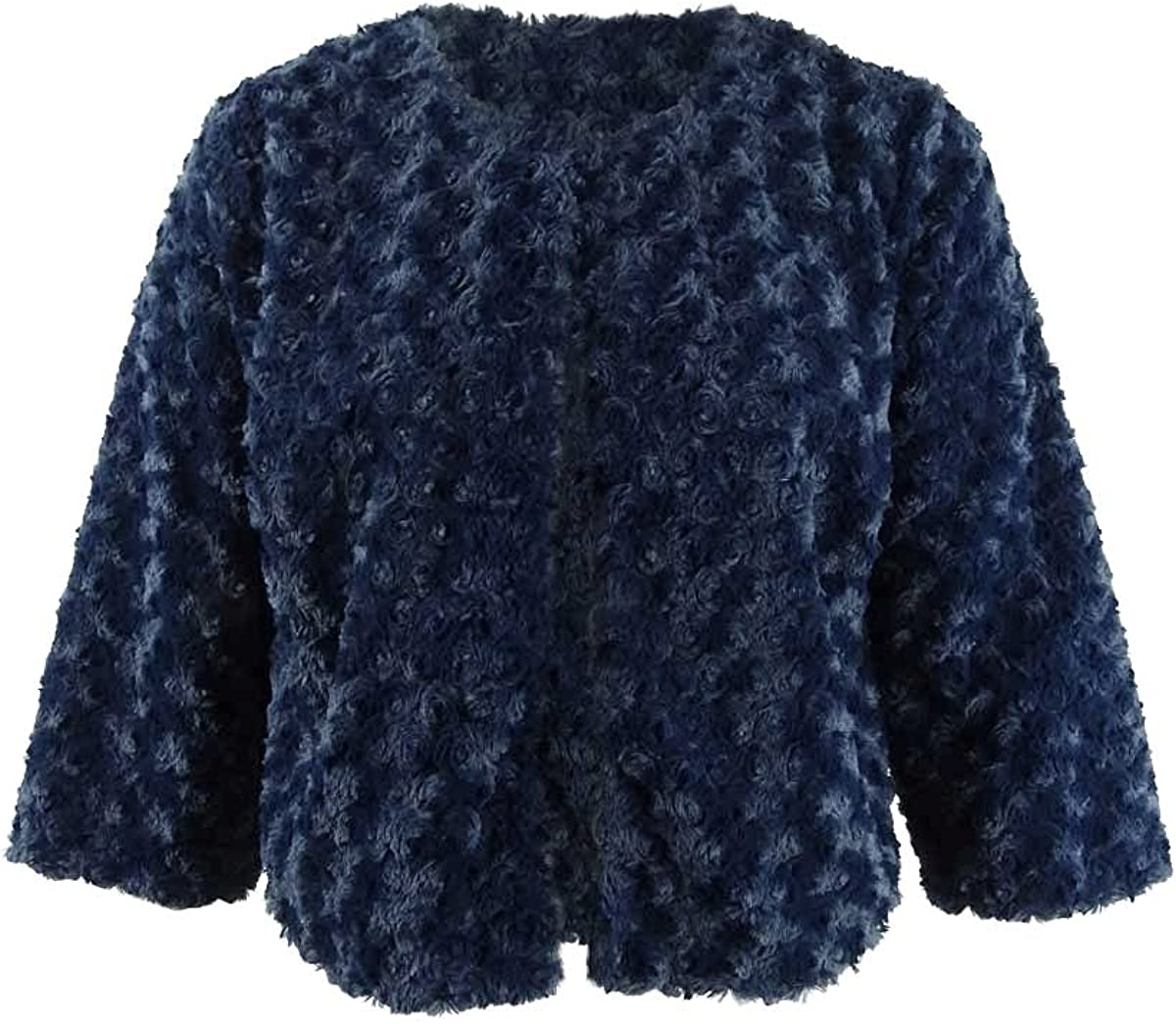ROBBIE BEE Women's Plus Faux Fur Solid Cardigan (2X, Navy)