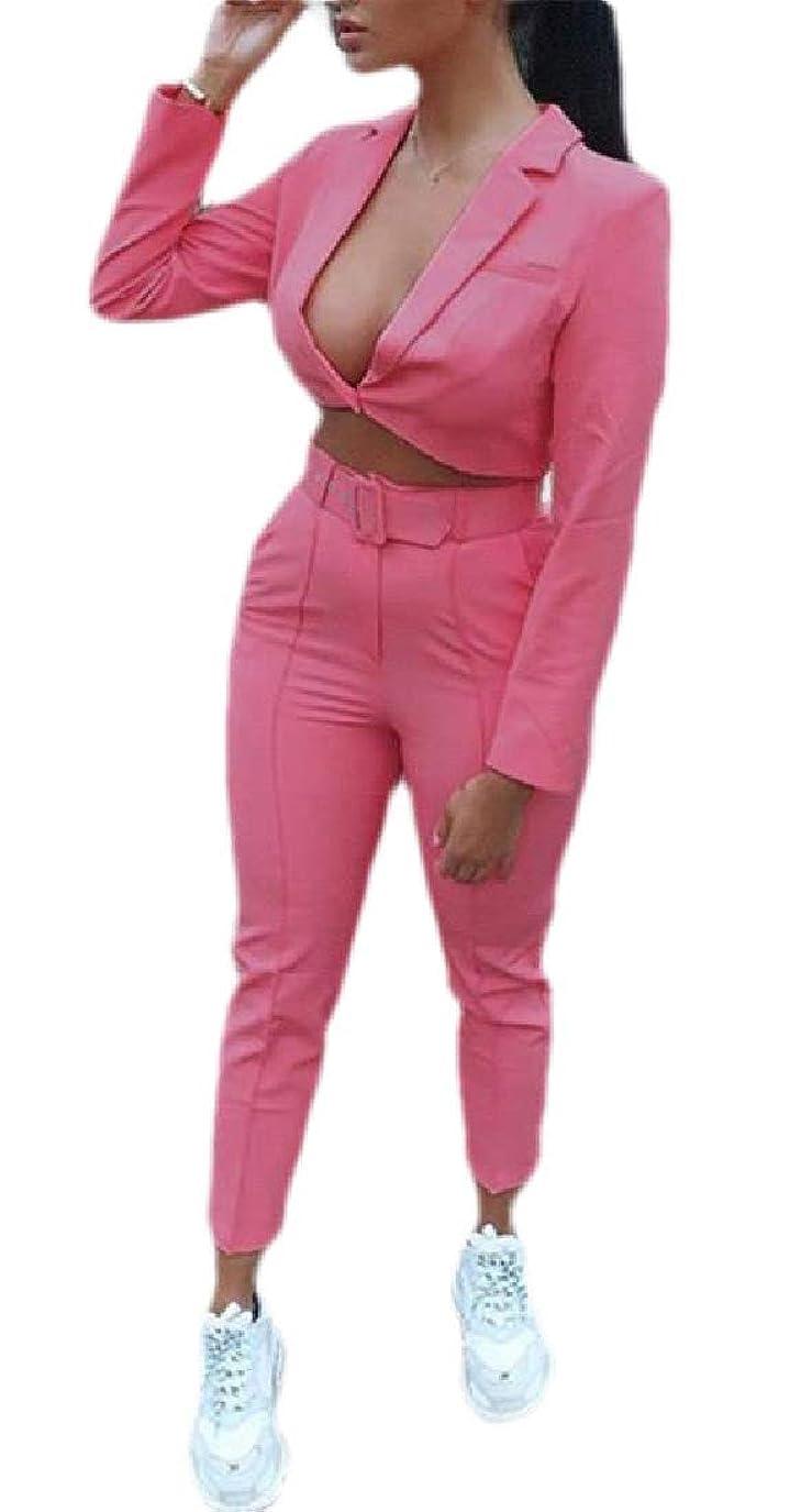 ノイズ無力リーズWomen's 2 Piece Outfits Long Sleeve Crop Blazer with Pants Casual Business Suit Set