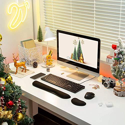 Mauspad mit Gelkissen | VicTsing Ergonomische Handgelenkauflage Set, Handgelenkstütze für Tastatur und Maus mit Memory-Schaum, rutschfeste, langlebig, komfortabel, Anti-Sehnenscheiden für Computer|Laptop, Schwarz - 2