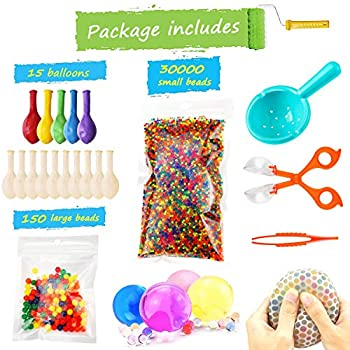 Water Beads Pack  30000 Small Water Beads /150 Large Jumbo Water beads/15 Balloons  Mixed Jelly Beads Water Gel Balls,Sensory Toys and Decoration