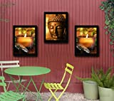 TIED RIBBONS Lord Buddha Wooden Framed Paintings for Home Decoration, 13.6x10.2 Inches (Black) - Set of 3