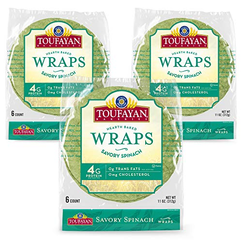 Toufayan Bakery, Savory Spinach Wraps for Sandwiches, Tortillas, Burritos and Snacks, Naturally Vegan, Cholesterol Free and Kosher (Spinach, 3 Pack)