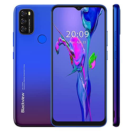 Blackview A70 2021 Handy ohne Vertrag Ggünstig, Android 11 Smartphone, 6,517 Zoll HD + Bildschirm, 3GB+32GB, 5380 mAh Akku,13MP+5MP Kamera, Dual SIM 4G, Face ID, GPS, Blau