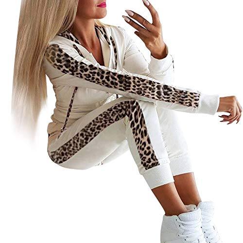 Writtian Frühling Herbst Trainingsanzug Damen Sportanzüge 2 Stück Set Outfit Sexy Sport Fitness Bodycon Leopard Patchwork Kapuzenpullover Sweatshirt Slim Fit Jogginghose Jogginganzug mit Tunnelzug