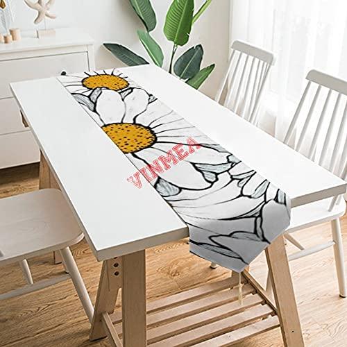 Camino de mesa bufandas, moderno y elegante, con diseño floral de margaritas ornamentadas de acuarela, para el hogar, cocina, cena, boda, eventos, decoración, 13 x 200 cm