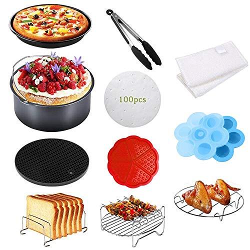 Benooa Zubehör für Airfryer Heißluftfritteuse,12PCS Universal Heißluftfritteuse Zubehör Inklusive Kuchenform/Pizzaform/Mehrzweckständer etc.für alle Marken von Fritteusen( 3.7QT-6.8QT) (111PACK)