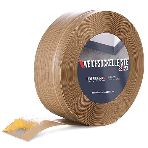 HOLZBRINK Battiscopa Morbido Adesivo Rovere chiaro Battiscopa con striscia spezzata, 32x23 mm, 5 m