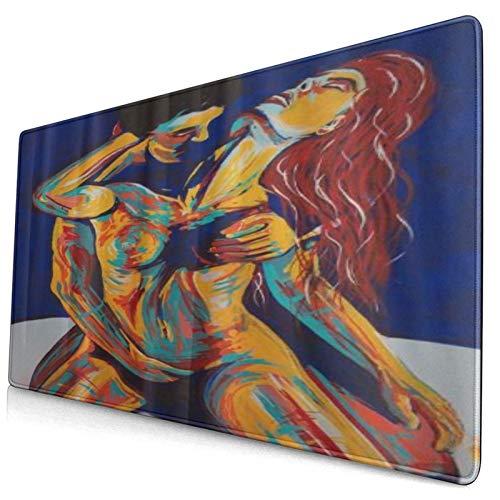 HUAYEXI Alfombrilla Gaming,Pareja Desnuda traviesa Sexual,con Base de Goma Antideslizante,750×400×3mm