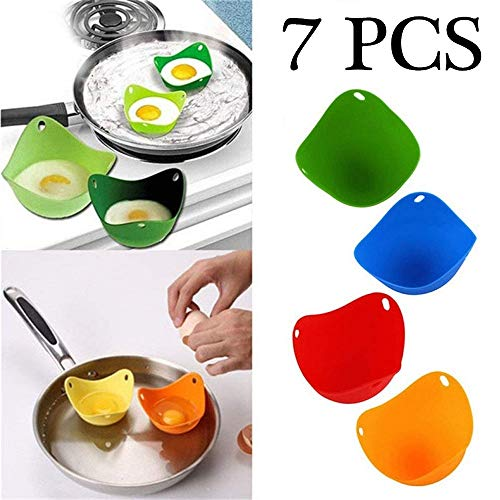 Suitable for Microwave Easy to Release and Clean stovetop and Dishwasher. BPA Free Non-Stick pan odorless 5-Pack Silicone Egg Egg Cooker with Built-in Ring Stand