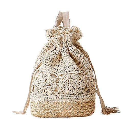 Fairysan, zainetto di paglia con design all'uncinetto e cinghie in pelle beige