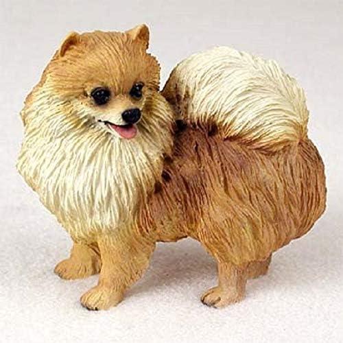 Crouching Small Size Sandicast Orange Pomeranian Sculpture