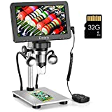 7'' Digital Microscope 1200X,Dcorn 12MP 1080P Photo/Video Microscope with 32GB TF Card for Adults Soldering Coins,Metal Stand,Wired Remote,10 LED Fill Lights,PC View,Windows/Mac Compatible