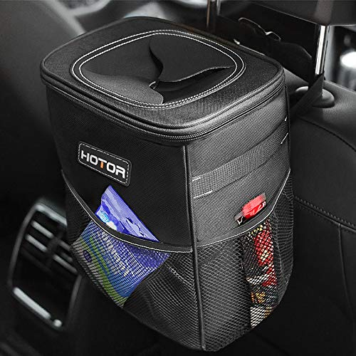 HOTOR Car Trash Can with Lid and Storage Pockets 100% LeakProof Car Organizer Waterproof Car Garbage Can Multipurpose Trash Bin for Car  Black