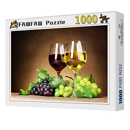 FAWFAW Puzzles 1000 Piezas, Copas De Vino, Uvas Bayas Hojas, Classic Rompecabezas De Juguete