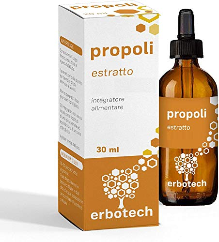 ERBOTECH Propoli (propolis) con Contagocce 30 ml, Tintura Madre, estratto puro al 100%, rimedio naturale per mal di gola e tosse, contribuisce al benessere delle prime vie respiratorie, Made in Italy