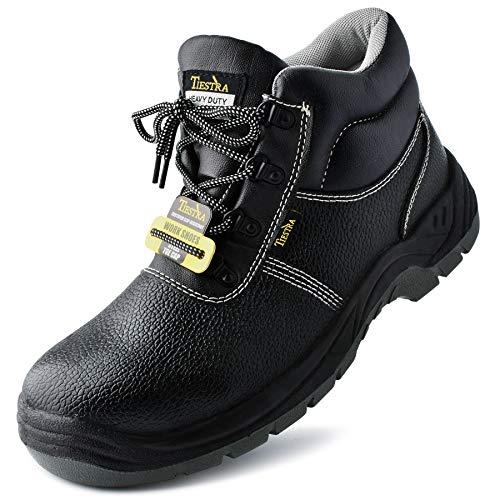 TIESTRA Botas de Trabajo con Punta de Acero Impermeables, S3 SRC Zapatillas de Seguridad Trabajo, Botas Seguridad Piel Negra, Calzado de protección para Hombre, Comodidad, Negro Alta EU45