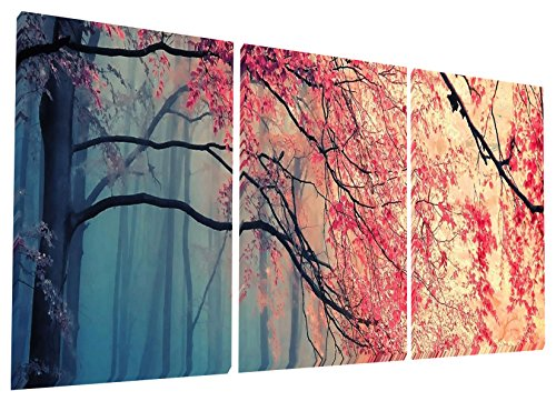 Gardenia Art - Red Maples Canvas Prints Wall Art Stretched and Framed Modern Paintings Artwork for Living Room and Bedroom, 16x16 in, 3 pcsSet
