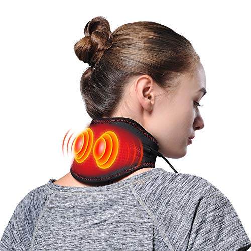 Neck Heating Massage Pad for Neck Pain Relief Portable Neck Massager with Heat & Vibration, Dual Functions Far Infrared Hot Compress Vibrating Massage Neck Brace Warm Wrap, 5 Levels Heating&Vibration