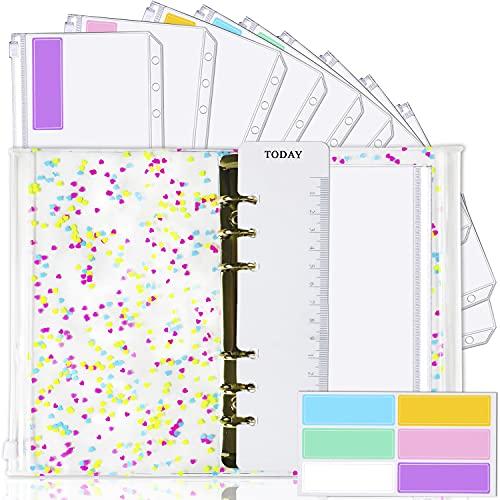 A6 Binder Cover and 12 Clear Envelopes, Budget Binder with Cash Envelopes for Budgeting, Binder Pockets Cash Envelope Wallet, Budget Planner Organizer, Cash Envelope Binder with Budget Envelopes Heart