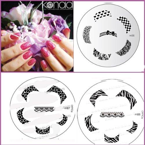 Bundle 5 pièces : Konad Plaque de nouvelles images M87, M88, M56 + Stamper & Scraper + A-viva Eco Lime à ongles