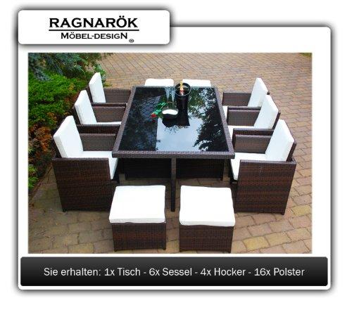 Ragnarök-Möbeldesign DEUTSCHE Marke - EIGNENE Produktion - 8 Jahre GARANTIE Garten Möbel Glas Polster PolyRattan Set Gartenmöbel Tisch Stuhl Hocker BRAUN - 2