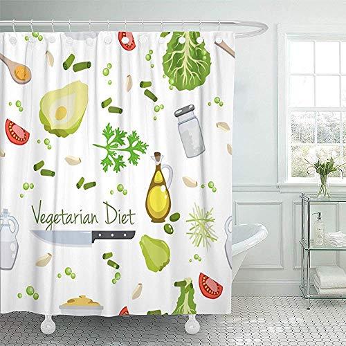 Not applicable Duschvorhang Chayote Verschiedene Gemüse Speiseöl Essig Abstract Bean Duschvorhang,72X72 In