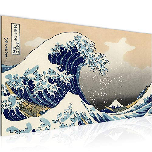 Bilder Japan Welle Wandbild 100 x 40 cm Vlies - Leinwand Bild XXL Format Wandbilder Wohnung Deko Kunstdrucke - MADE IN GERMANY - Fertig zum Aufhängen 850012a