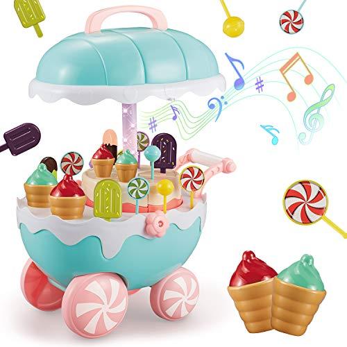 INFMENT Moment Carrito de Helados 17 Juguetes para Niños, Utilizado para Juegos de rol Juegos, con Música y Luces, con Comida Giratoria Automática para Que Jueguen los Niños Mayores de 3 Años (Rosa)