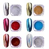 AIMEILI 6 Boîtes Kit Poudre de Miroir Chrome Effect Poussière de Paillettes Laser Poudre Caméléon Holographic Nail Powders Nail Art Décoration