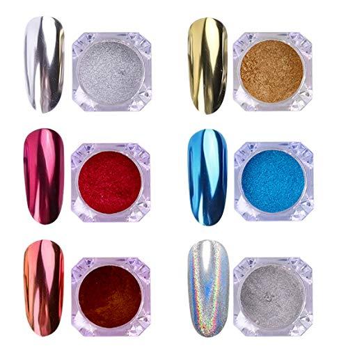 AIMEILI 6 colors Polvo Acrilico Para Uñas Colores Esmalte Uñas Efecto Espejo Arte de Uñas Cromo Pigmento Holográfica Manicura Decoración Chrome Laser Rainbow Camaleón Uñas Mirror Nail Glitter Powder