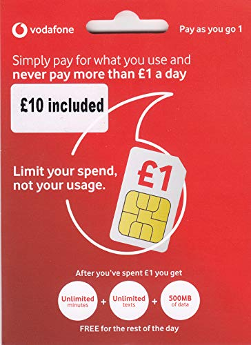 UK Vodafone SIM Card with £10 Credit preloaded, 4G Data, Voice mins and Texts to use in Europe and The UK (Best Overseas Sim Card)