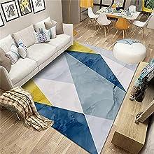 Fácil De Limpiar Interiores Alfombra Azul Salón salón Azul triángulo Abstracto Moderno salón Alfombra Duradera Anti alergico el pie se Siente cómodo Alfombraes 200x300cm Alfombra 6ft 6.7''X9ft 10.1''