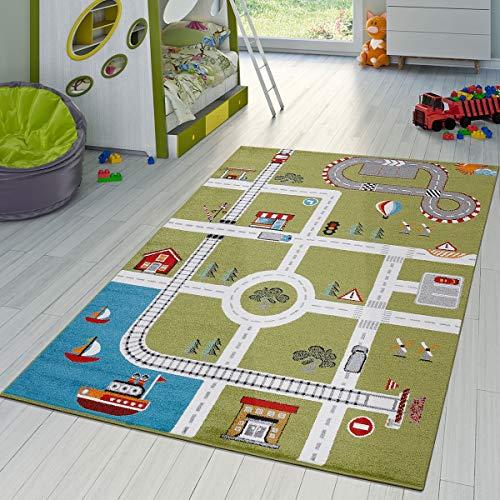 T&T Design Alfombra De Juegos para Habitación Infantil con Diseño De Ciudad con Puerto y Calles En Verde, Größe:120x170 cm