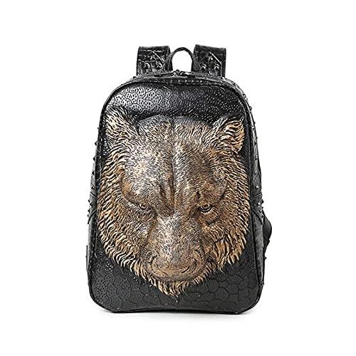 Mochila fresca para mujer, bolsos de hombro, mochila de tigre 3D para adolescentes, mochila de cuero de pu de alta calidad, mochilas escolares para ordenador portátil 1
