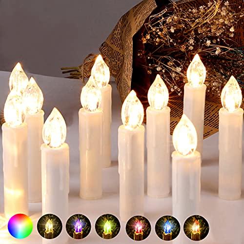 CCLIFE LED Weihnachtskerzen Kabellos RGB Kerzen Bunt Weihnachtsbaumkerzen Christbaumkerzen mit Fernbedienung Timer Kerzenlichter, Farbe:Beige, Größe:30er