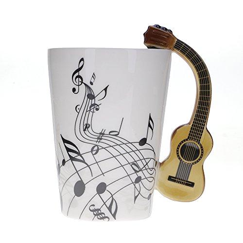 Kompassswc Keramik Kaffeetasse Lusitig Gitarre Henkel Porzellan Tasse Musik-Note Bedruckt Teetasse Winter Geschenk Kaffeebecher Für Musiklieber Ø7,5 H10cm 0,3L