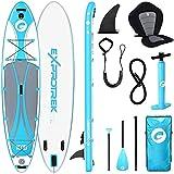 Tabla para paddle surf de Exprotrek, tabla para SUP inflable, set de tabla para SUP, 8 pulgadas de espesor, Cuenta con remo de aluminio y todos los accesorios necesarios (150 KG MÁX), Blue