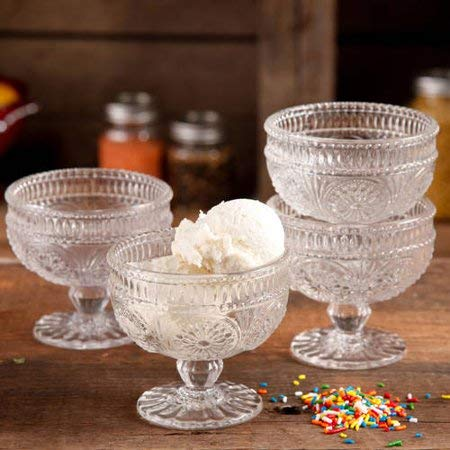 The Pioneer Woman Adeline 10 Oz Glass Sundae Cups, Set of 4 - Clear
