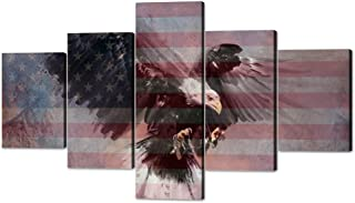Eagle American Flag Painting on Canvas Independence Day Artwork Morden Patriotic Concept Rustic Print USA Wall Art Giclee for Living Room Home Decor 5 Piece Stretched Framed(70''W x 40''H)