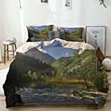 Popun Juego de Funda nórdica Beige, Mountain Lake West Siberia Altai Mountains Katun Ridge Alpine Forest Morning, Juego de Cama Decorativo de 3 Piezas con 2 Fundas de Almohada