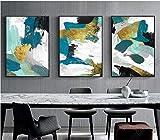 ZNuQP Decoración nórdica para el hogar Lienzo Abstracto Pintura Azul Dorado...