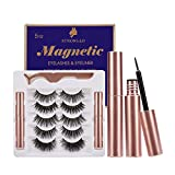 5 Pairs Reusable Mink Magnetic Eyelashes with Eyeliner Kit, Upgraded 3D& 5D Magnetic Lashes Natural Look, No Glue Needed