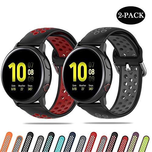 Pailebi Sport Bands for Galaxy Active 40mm/Active 2 40mm/44mm, Waterproof and Breathable Replacement Strap for Samsung Galaxy Watch 42mm/Gear S2/Gear Sport (Black/Red+Black/Gray, 20mm)